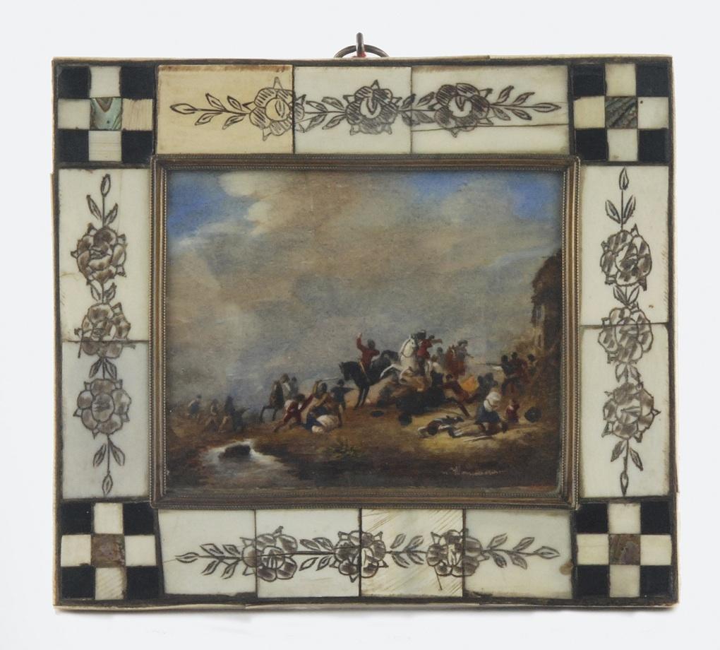 Miniatura ze sceną bitewną według Philipsa Wouwermana (1619-1668)
