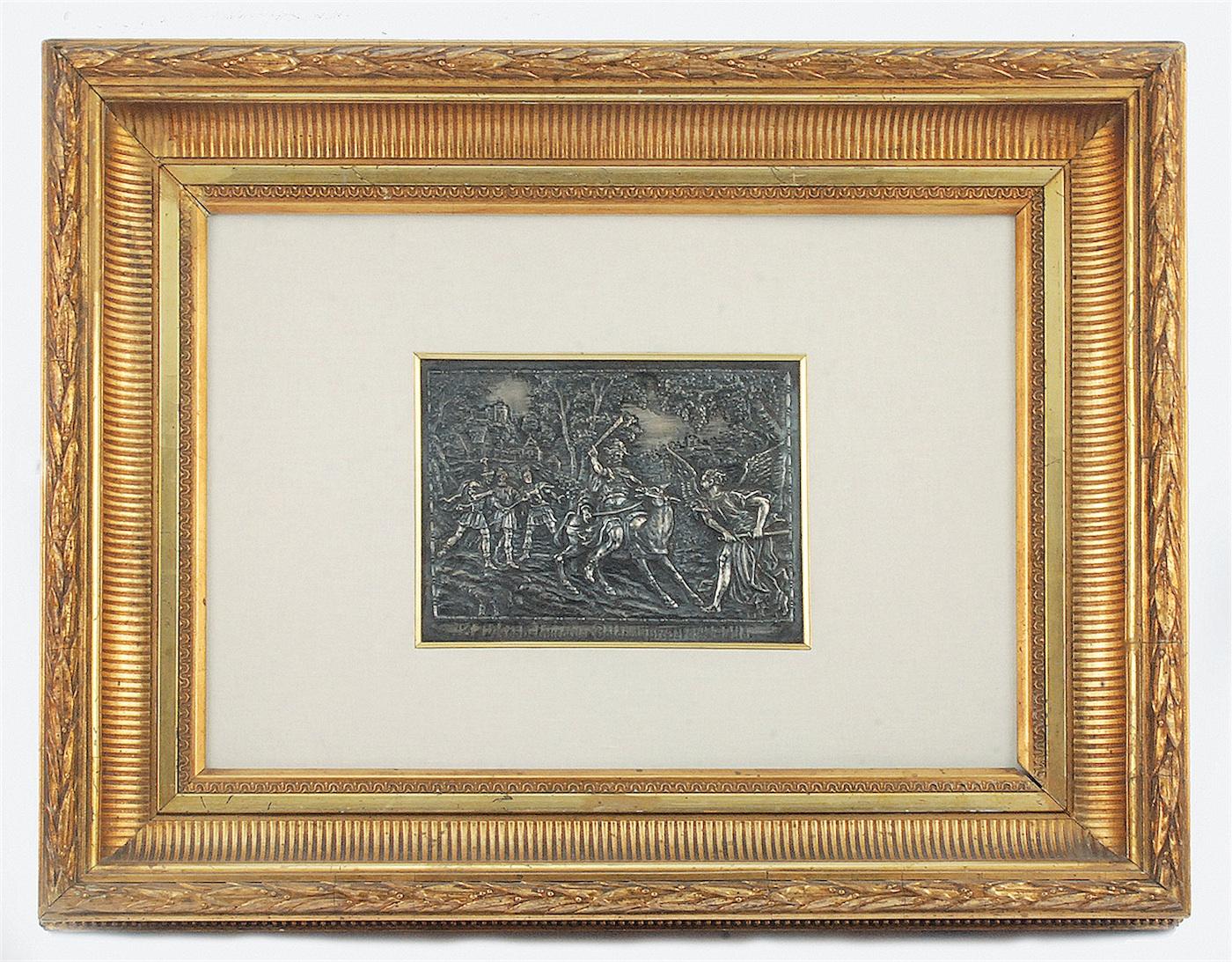 Plakieta srebrna ze sceną biblijną