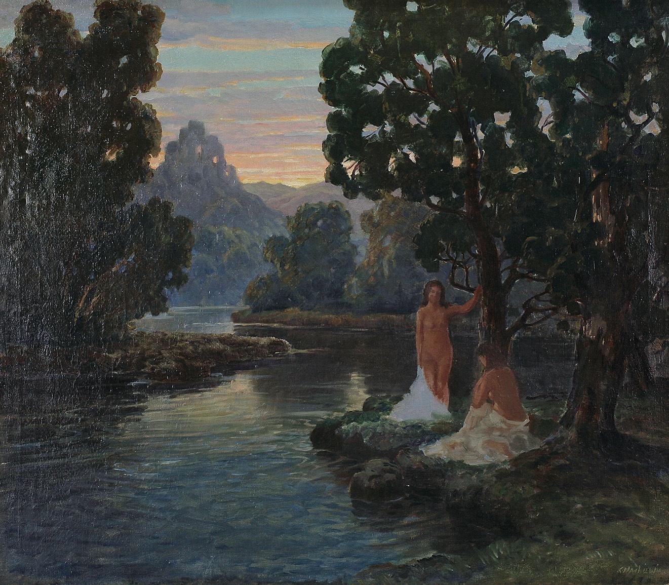 Kąpiące się o zachodzie słońca