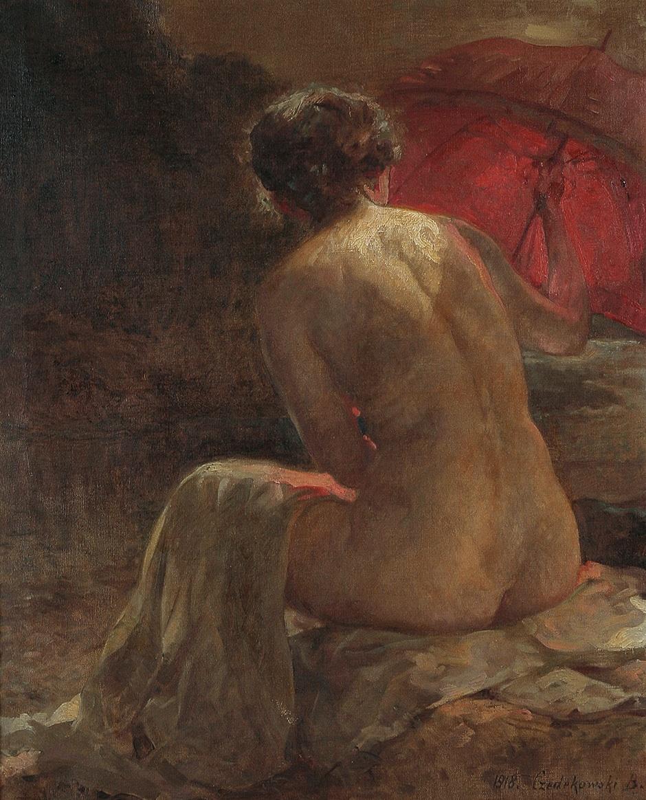 Akt z czerwoną parasolką, 1918