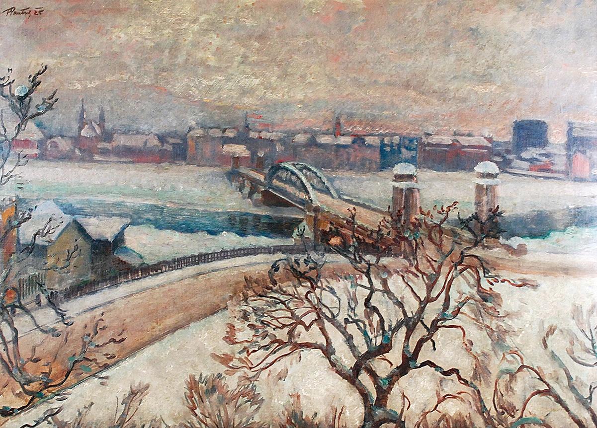 Kraków zimą - widok na most, 1925
