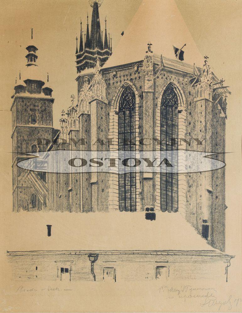 WIDOK OD WSCHODU NA KOŚCIÓŁ MARIACKI W KRAKOWIE, 1926