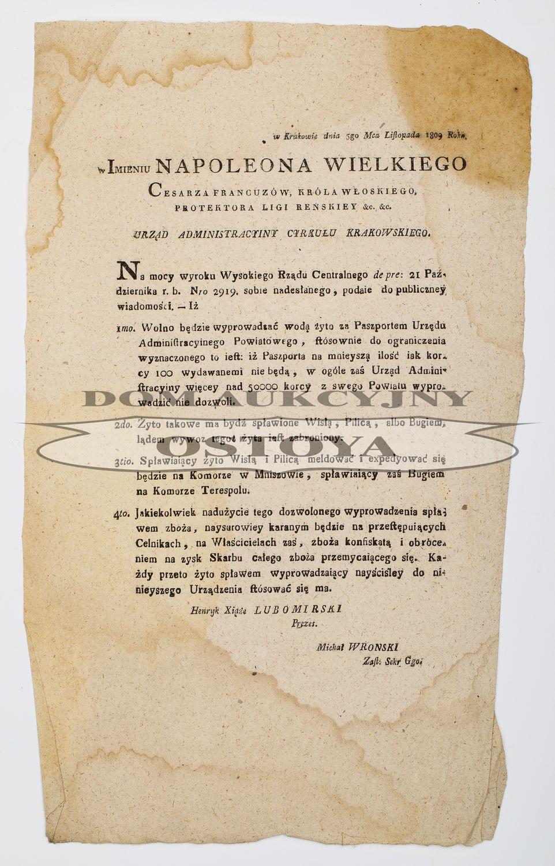 URZĄD ADMINISTRACYJNY CYRKUŁU KRAKOWSKIEGO, 5.11.1809