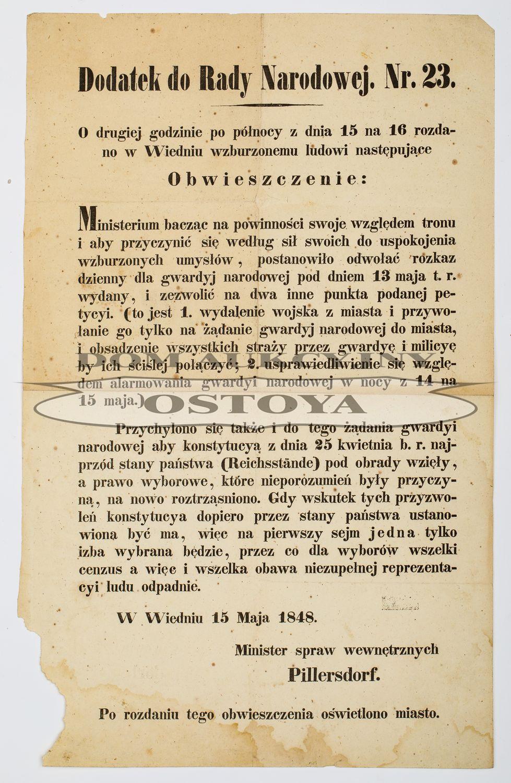 DODATEK DO RADY NARODOWEJ. NR. 23; 15.05.1848