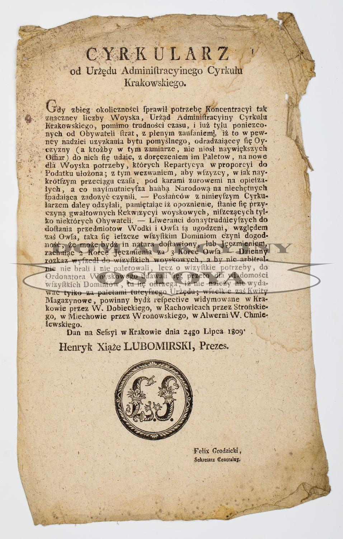 CYRKULARZ OD URZĘDU ADMINISTRACYJNEGO CYRKUŁU KRAKOWSKIEGO, 24.07.1809