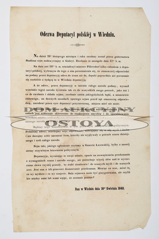 ODEZWA DEPUTACYI POLSKIEJ W WIEDNIU, 16.04.1848