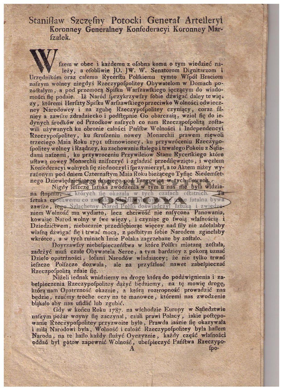 MOWA MARSZAŁKA KONFEDERACJI KORONNEJ (TARGOWICKIEJ) STANISŁAWA SZCZĘSNEGO POTOCKIEGO, po 14 maja 1792