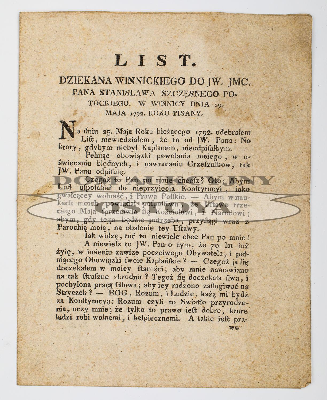 LIST DZIEKANA WINNICKIEGO DO STANISŁAWA SZCZĘSNEGO POTOCKIEGO, 1792
