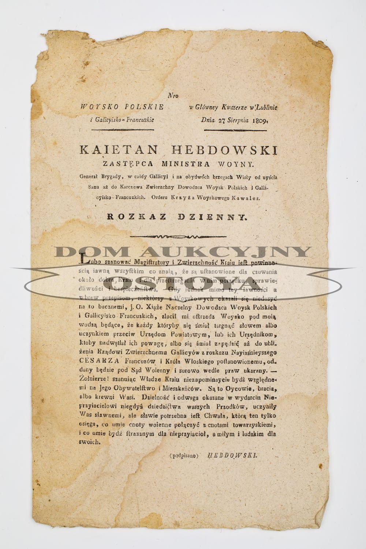ROZKAZ DZIENNY ZASTĘPCY MINISTRA WOJNY KAJETANA HEBDOWSKIEGO, Lublin, 27.08.1809