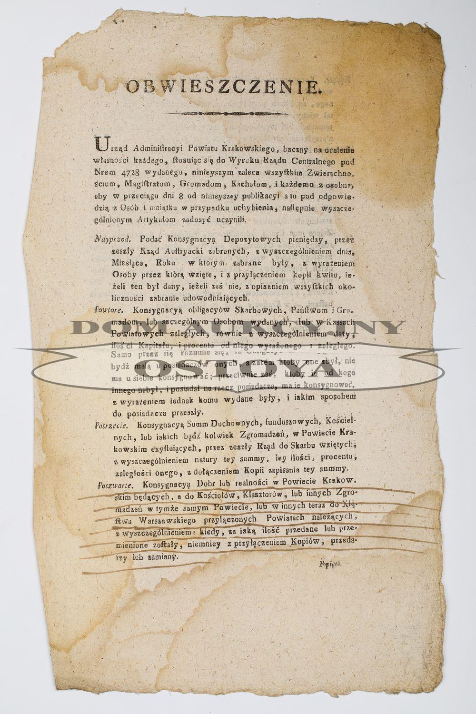 OBWIESZCZENIE, Urząd Administracyjny Powiatu Krakowskiego, 19.12.1809
