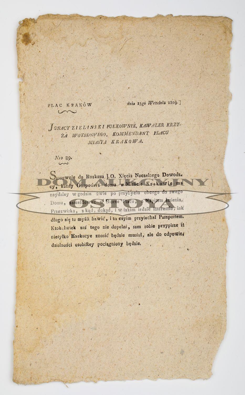OBWIESZCZENIE, Kraków 13.09.1809
