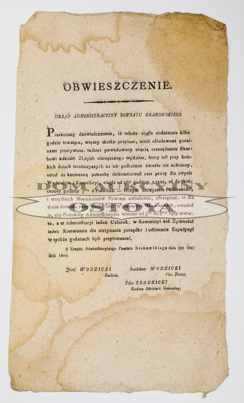 OBWIESZCZENIE, Urząd Administracyjny Powiatu Krakowskiego, 3.12.1809