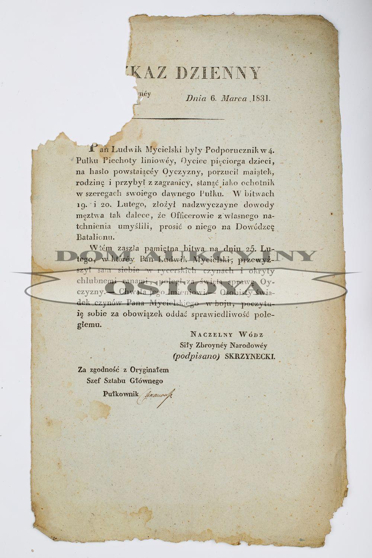 ROZKAZ NACZELNEGO WODZA JANA SKRZYNECKIEGO, Warszawa, 6.03.1831