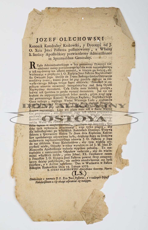OBWIESZCZENIE JÓZEFA OLECHOWSKIEGO, KANONIKA KATEDRALNEGO KRAKOWSKIEGO, 13.03.1773