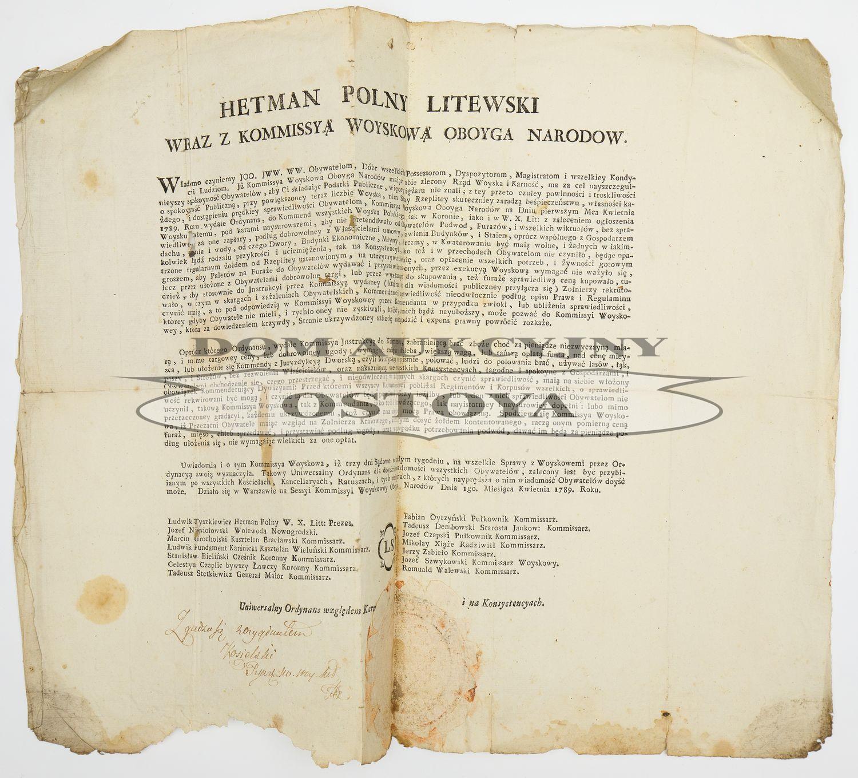 ROZKAZ (ORDYNANS) HETMANA POLNEGO LITEWSKIEGO LUDWIKA TYSZKIEWICZA I KOMISJI WOJSKOWEJ OBOJGA NARODÓW, 18.04.1789