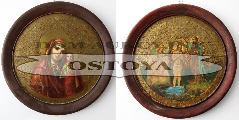 IKONA DWUSTRONNA, MATKA BOSKA KAZAŃSKA, CHRZEST CHRYSTUSA, Rosja, k. XIX w.