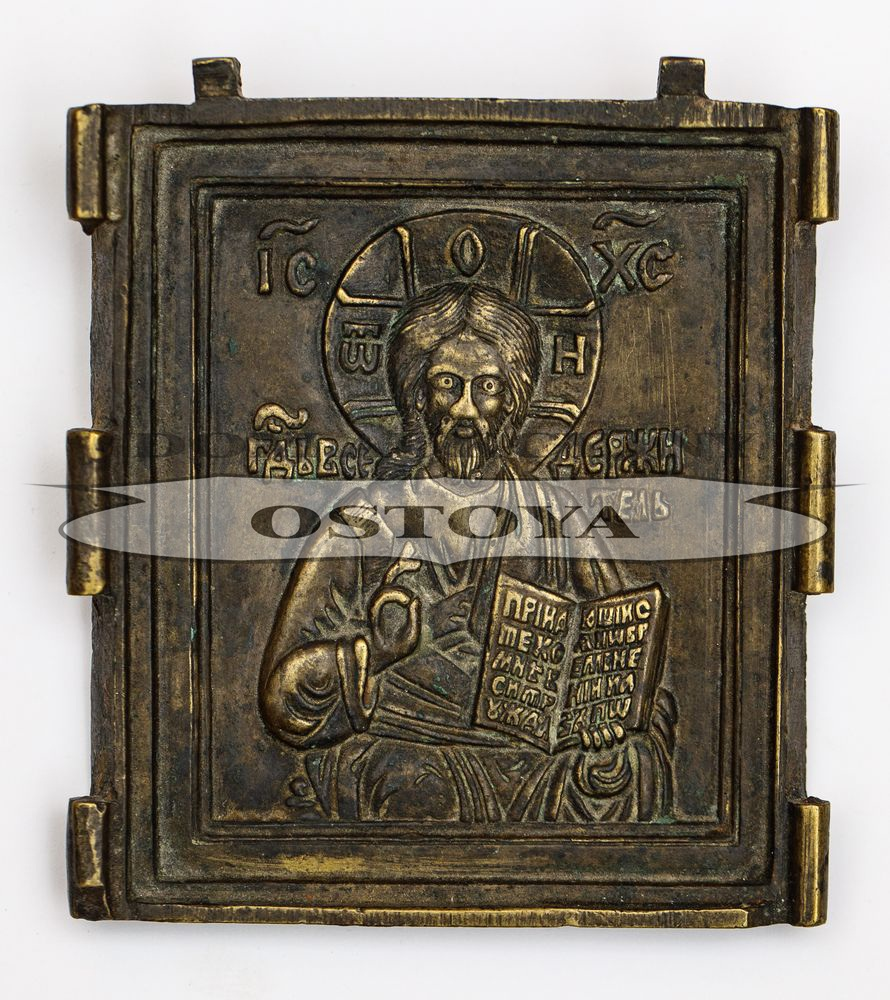 IKONA PODRÓŻNA, CHRYSTUS PANTOKRATOR, Rosja, XVIII w.