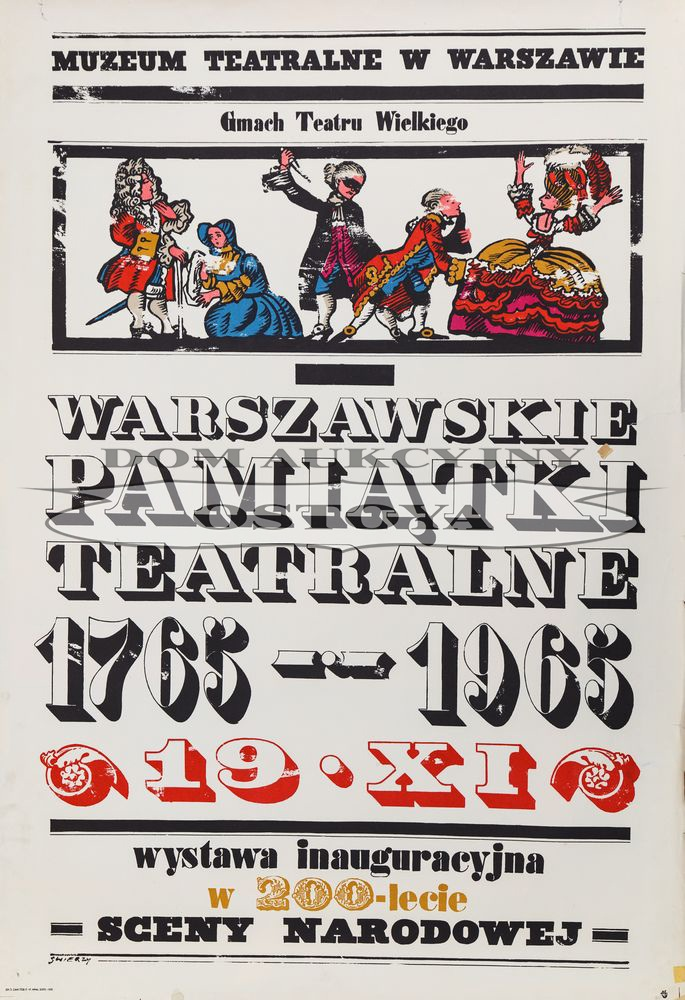 Plakat wystawy WARSZAWSKIE PAMIĄTKI TEATRALNE, 1965