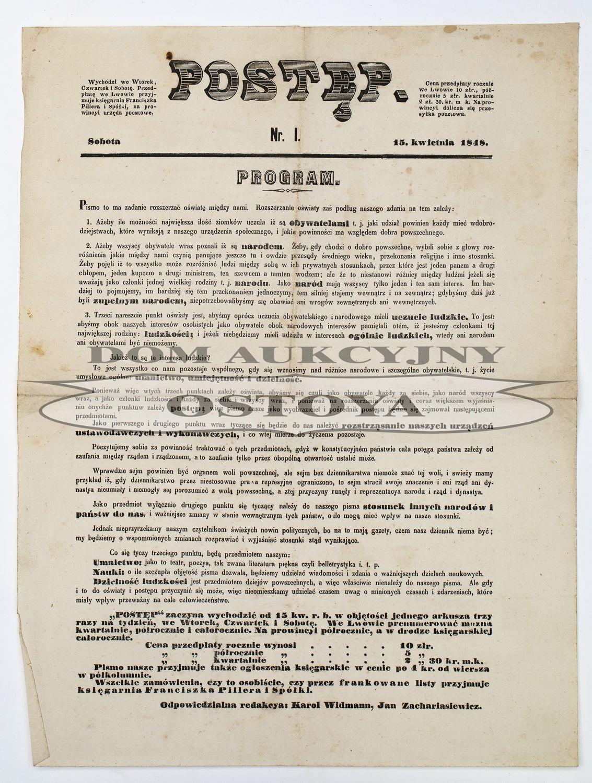 POSTĘP nr 1, Lwów, 15.04.1848, Wiosna Ludów