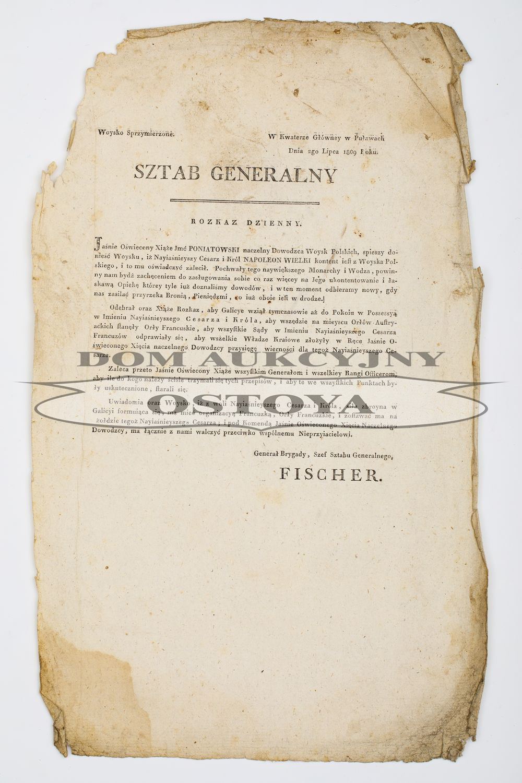 ROZKAZ DZIENNY, SZEFA SZTABU GENERALNEGO STANISŁAWA FISZERA, Puławy, 2.07.1809, Księstwo Warszawskie, wojna z Austrią