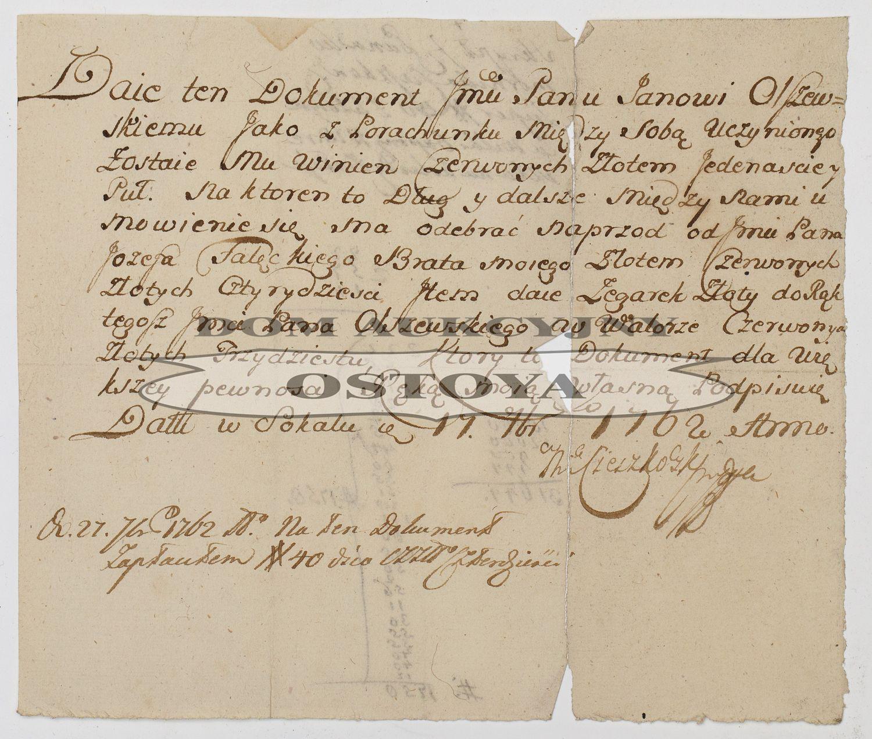 SKRYPT KOMORNIKA CIESZKOWSKIEGO, Sokal, 17.11.1762