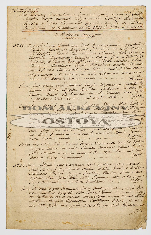 PODSUMOWANIE TRANSAKCJI ZAWARTYCH PRZEZ MARCINA JERZEGO WYBRANOWSKIEGO W AKTACH LWOWSKICH W LATACH 1710 - 1720