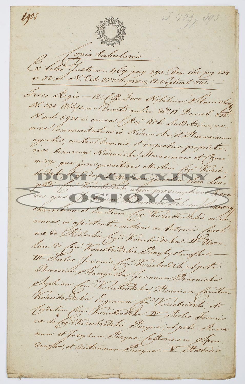 COPIA TABULARIS, Galicja, Lwów, 19.09.1841