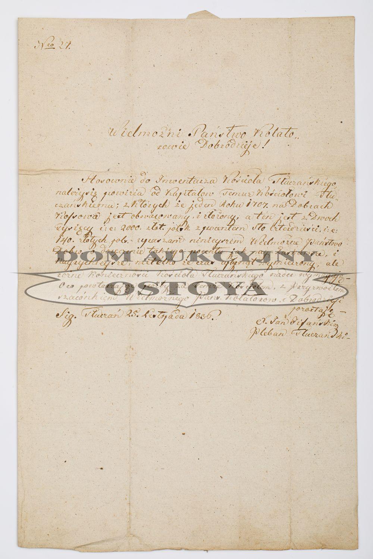 LIST OD PLEBANA TŁUCZAŃSKIEGO JANA PISAŃSKIEGO DO KOLATORÓW W KOSSOWEJ, 25.11.1836