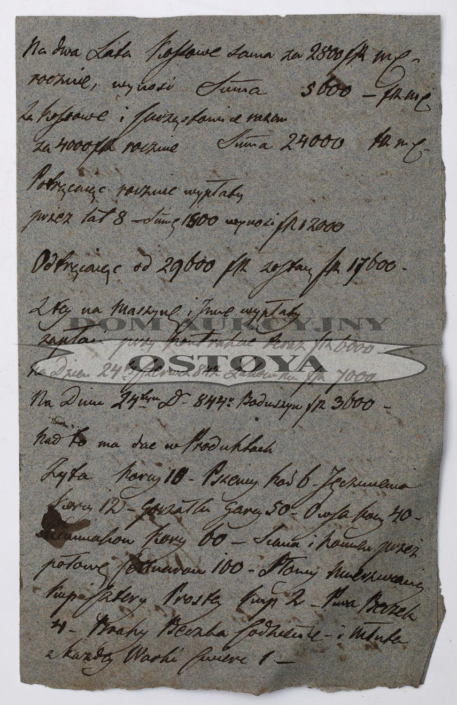 PRELIMINARZ FINANSÓW MAJĄTKU KOSSOWA, 1844