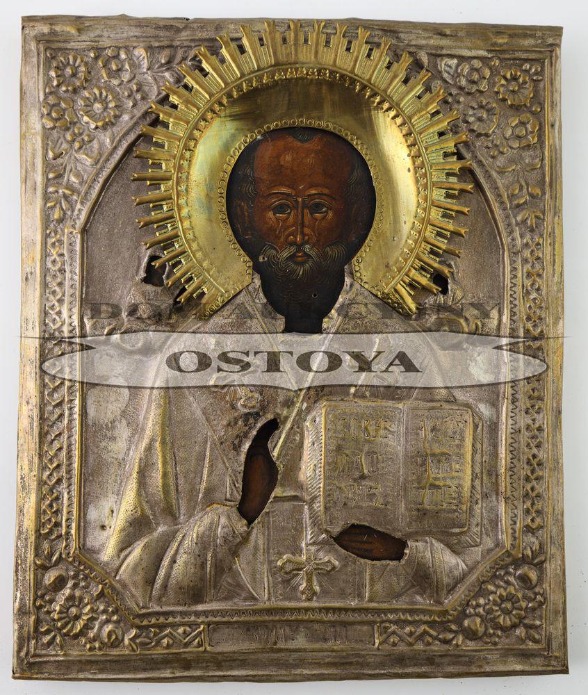 IKONA, ŚWIĘTY MIKOŁAJ CUDOTWÓRCA, Rosja,k. XIX w.