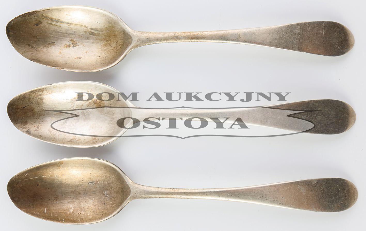 TRZY ŁYŻKI Z MONOGRAMEM RS, Polska, Warszawa, Szymon Stanecki, ok. 1810