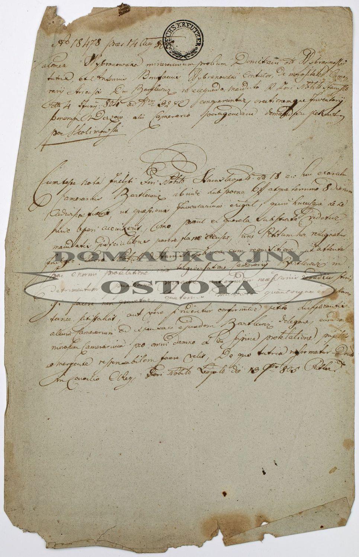 DOKUMENT W SPRAWIE WYBRANOWSKICH, Lwów, 14.08.1805