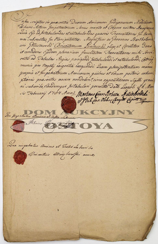 DOKUMENT TYCZĄCY BARTŁOMIEJA GOŁASZEWSKIEGO I KRZYSZTOFA ŁANIEWSKIEGO, Lwów, luty 1704
