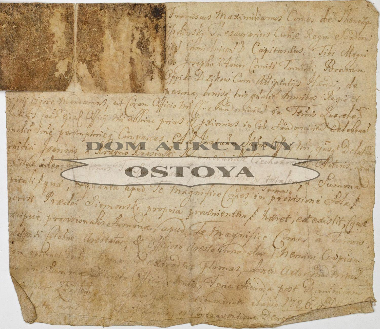 DOKUMENT FRANCISZKA MAKSYMILIANA OSSOLIŃSKIEGO, 1727
