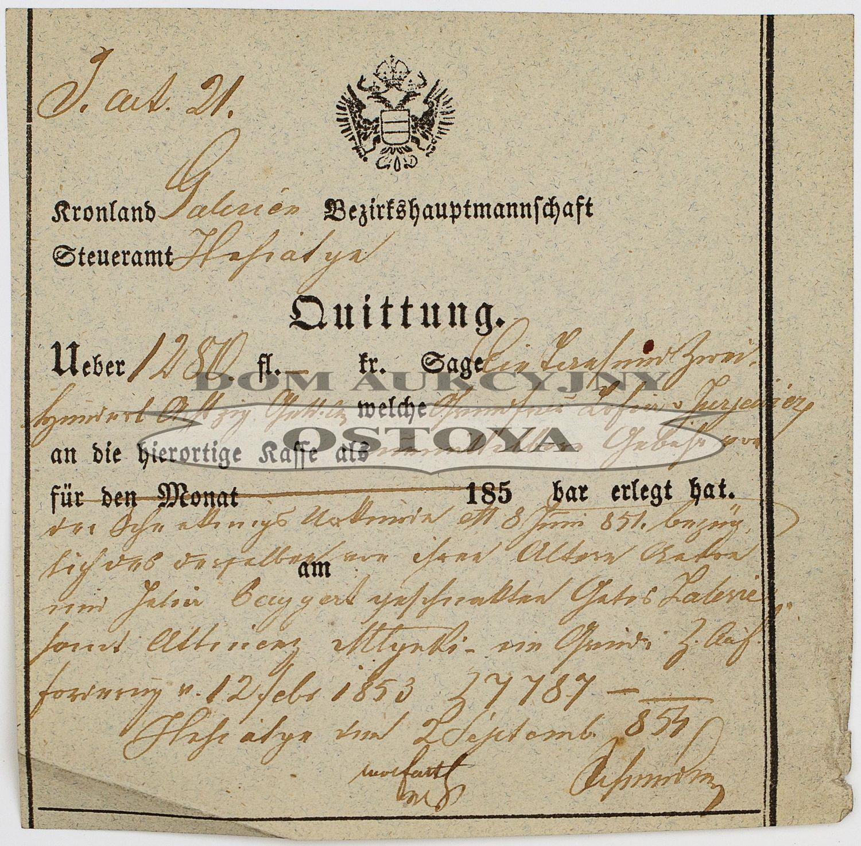 POKWITOWANIE PRZYJĘCIA PODATKU, Galicja, Husiatyń, 2.09.1854