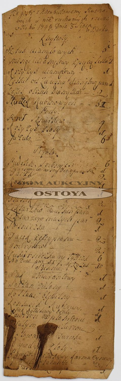 REJESTR RZECZY RUCHOMYCH I NIERUCHOMYCH, Bark, 3.07.1749