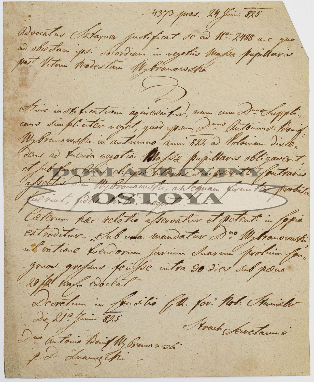 LIST ADWOKATA SZTAYNERA W SPRAWIE SPADKU PO MODEŚCIE WYBRANOWSKIEJ, Stanisławów, 24.06.1823