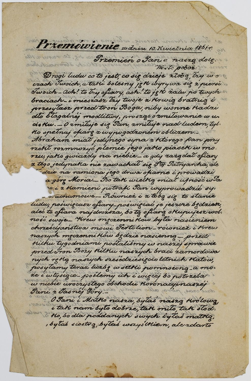 PRZEMÓWIENIE Z DNIA 10. KWIETNIA 1861 R.