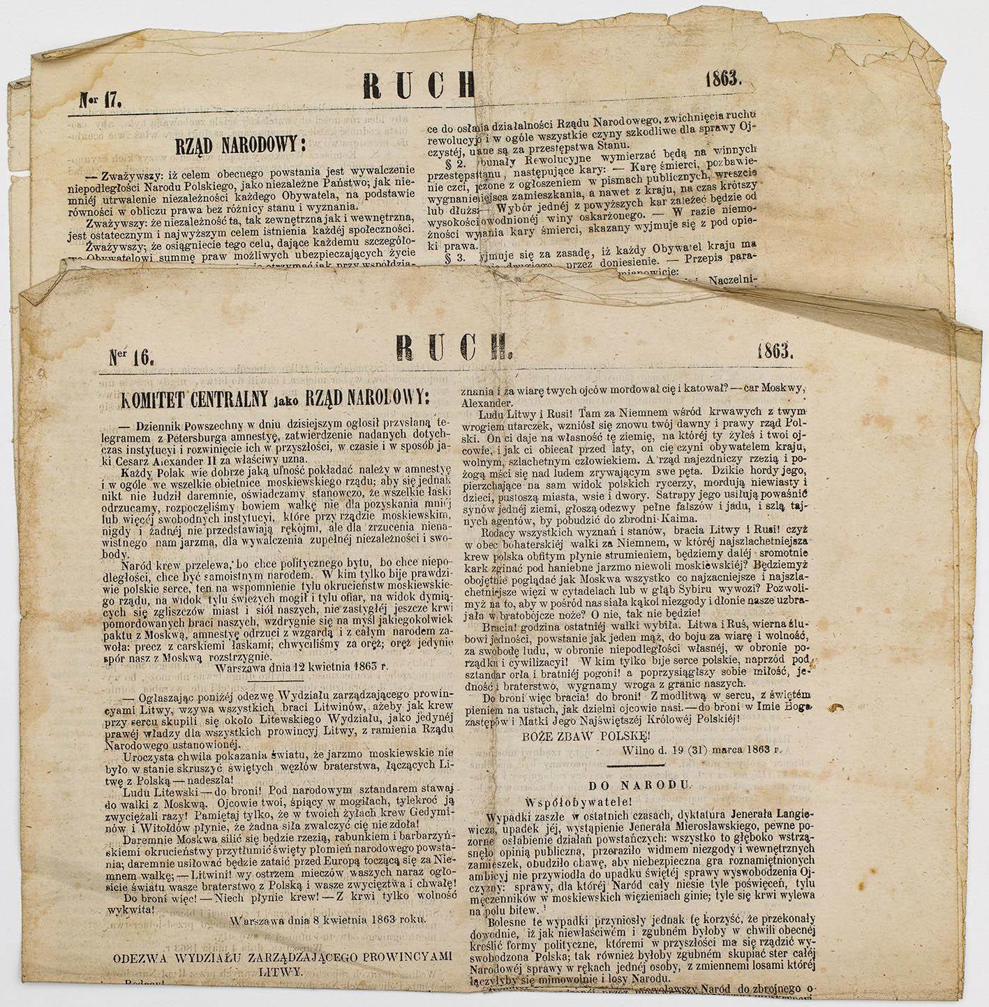 RUCH, nr 16 i 17, Polska, Warszawa, 15.06 i 14.07. 1863, Powstanie styczniowe
