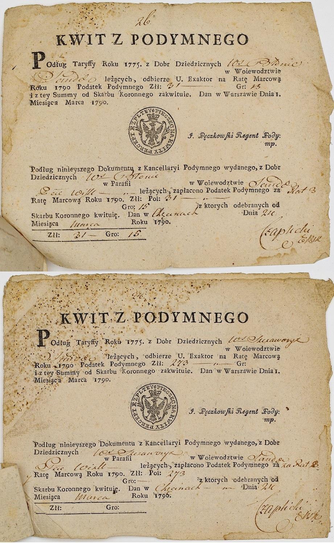 DWA KWITY Z PODDYMNEGO I DWA ODCINKI WPŁATY, 1790