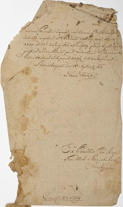 DOKUMENT, Stanisławów, 10.09.1822