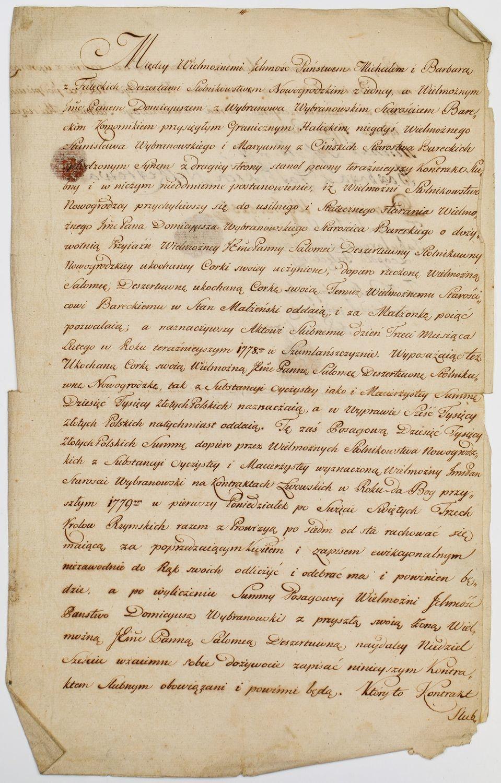 KONTRAKT ŚLUBNY, Szumlańszczyna, 27.01.1778