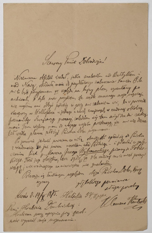 LIST DO WYBRANOWSKICH, Kraków, 14.10.1875