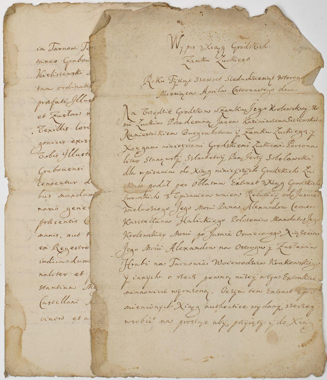 WYPIS KSIĄG GRODZKICH ZAMKU ŁUCKIEGO, 14.04.1672