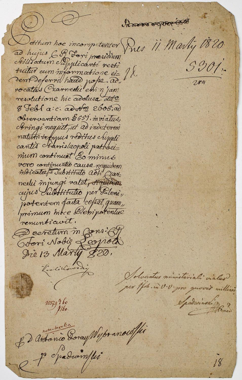 UPOWAŻNIENIE DLA ADWOKATA CZARNIECKIEGO DO REPREZENTOWANIA ANTONIEGO WYBRANOWSKIEGO, Lwów, 11.03.1820