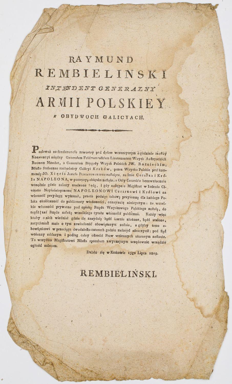 OBWIESZCZENIE INTENDENTA GENERALNEGO ARMII RAJMUNDA REMBELIŃSKIEGO, Kraków, 15.07.1809