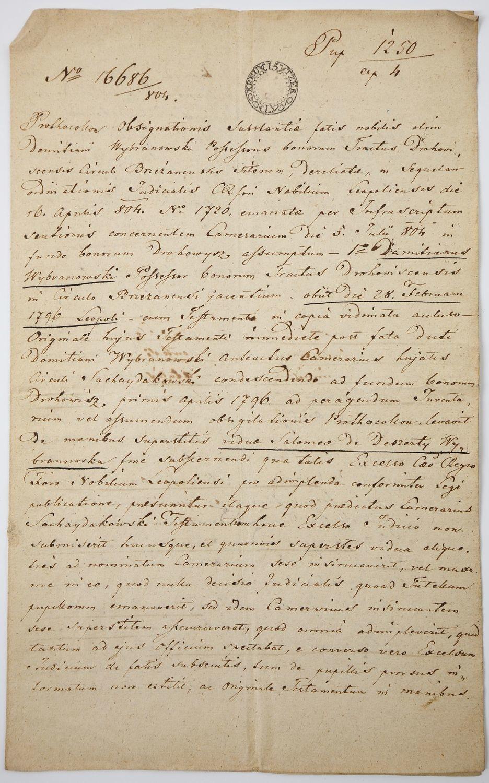 TESTAMENT DOMINIKA WYBRANOWSKIEGO, Lwów, 22.08.1804