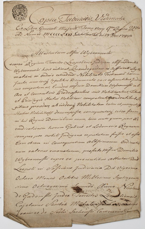POTWIERDZENIE SZLACHECTWA, Lwów, 28.08.1784