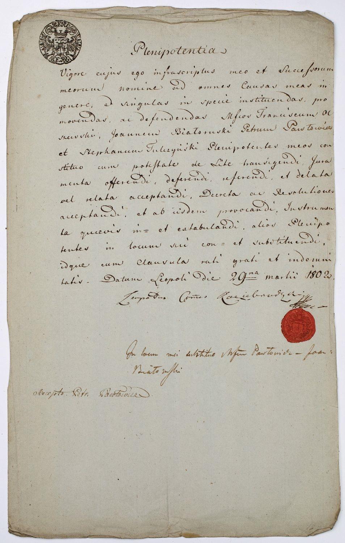 PEŁNOMOCNICTWO, Lwów, 29.03.1802