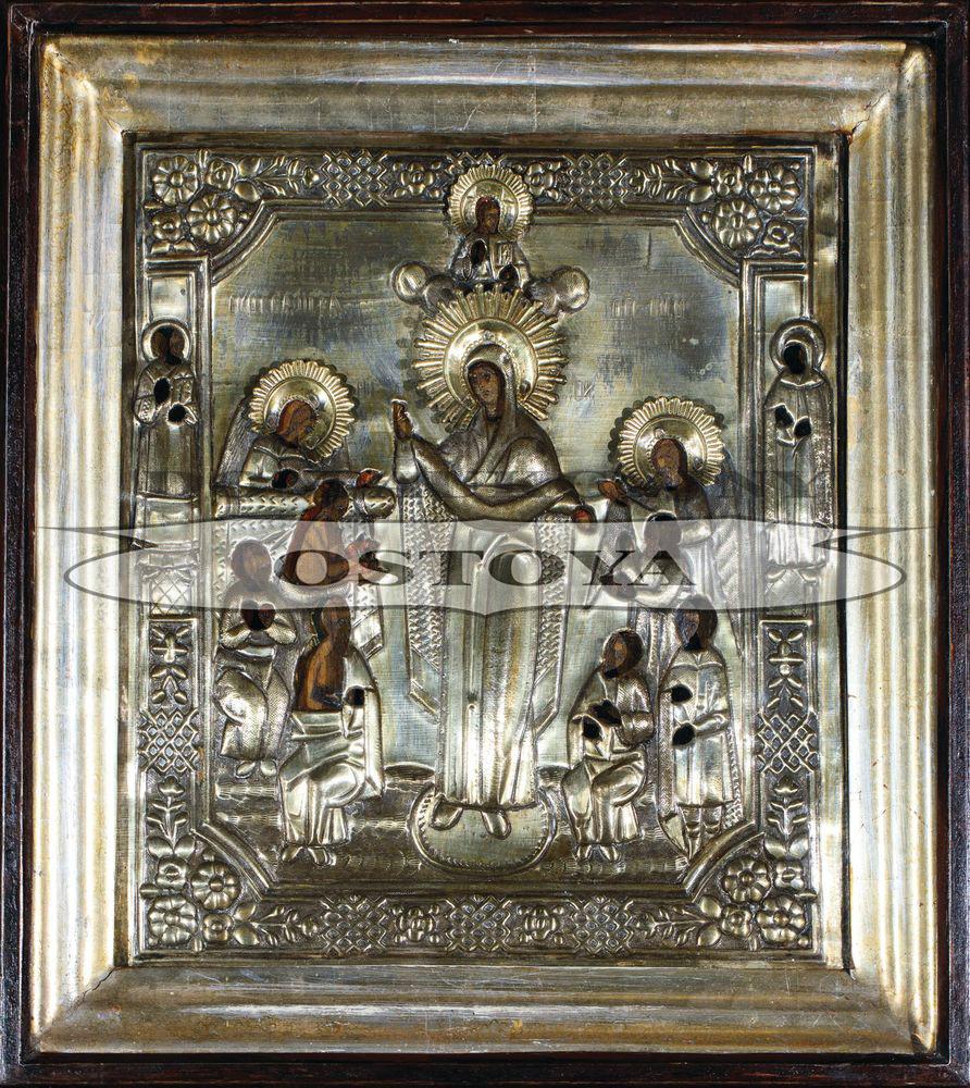IKONA W KIOCIE, WELON MATKI BOŻEJ (POKROW), Rosja, XIX w.